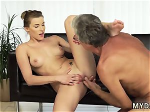 elderly milky grandmother and father displays crony comrade s daughter assfuck first-ever time orgy with her